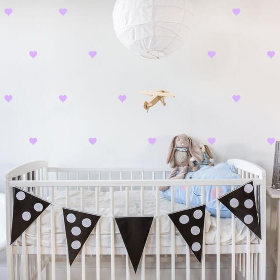 Lavender Hearts Wall Decals