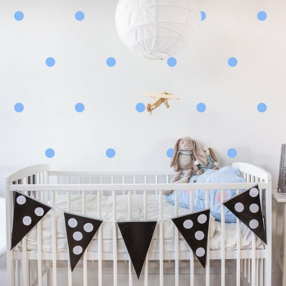 Soft Blue Polka Dots Wall Decals