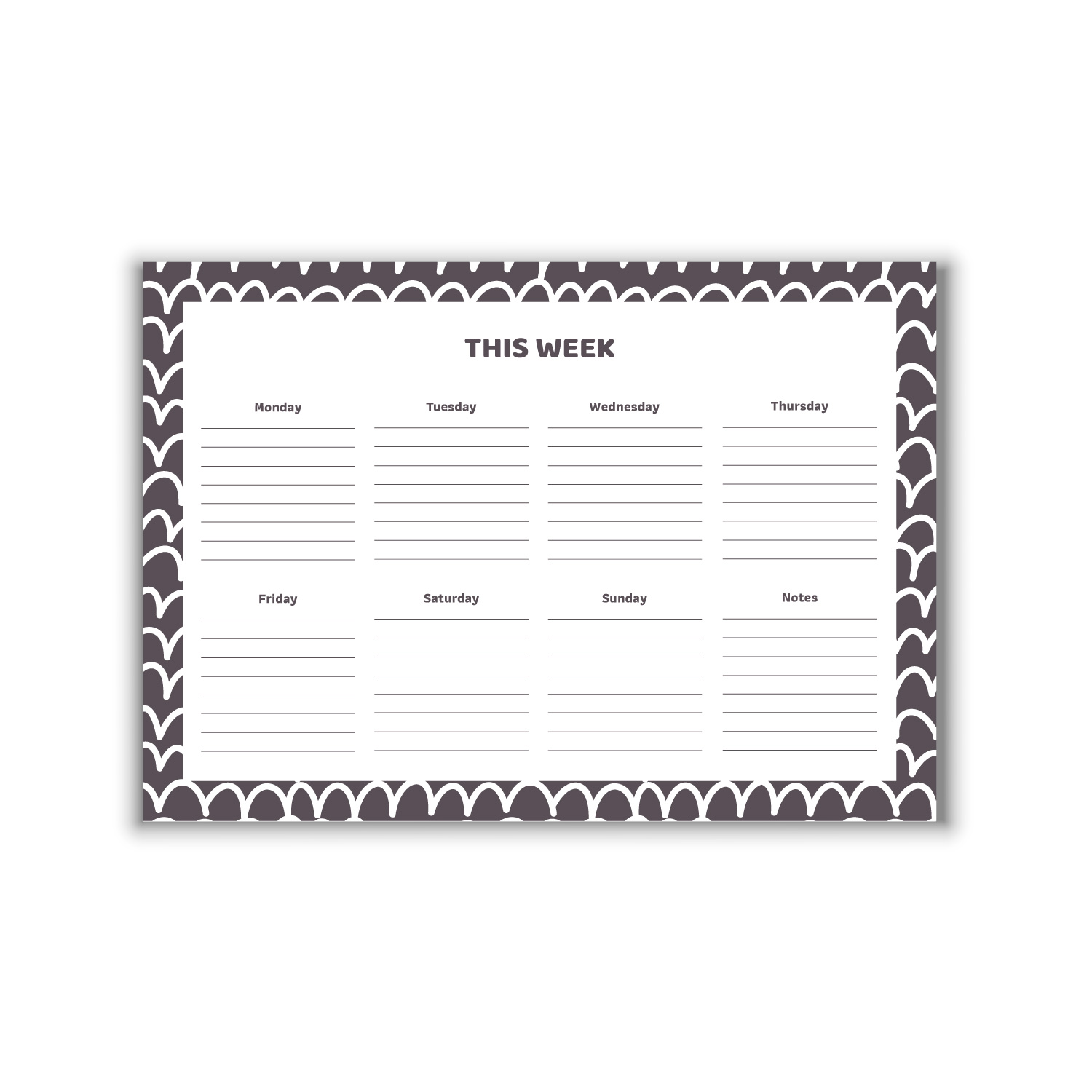 White Waves A4 Weekly Planner