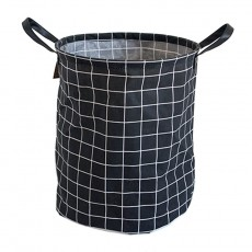 Black Grid Large Foldable Storage Basket