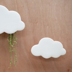 Cloud Small White Wall Planter