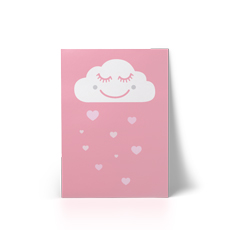 Happy Cloud Pink A4 Art Print