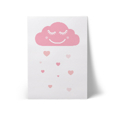 Happy Cloud White A3 Art Print