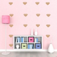 Metalic Gold Diamonds Wall Decals