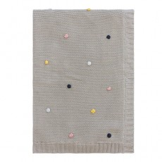 Pom Pom Cotton Baby Blanket Grey Marle