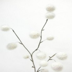 Pom Pom Spray White Faux Plant