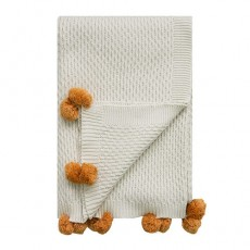Seed Stitch Throw White With Oak Buff Pompoms