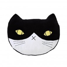Velvet Cat Black White Cushion