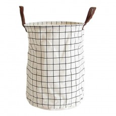 White Grid Large Foldable Storage Basket